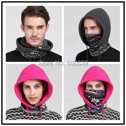 Functional Keep Warm Fleece Hat+Tube Neck Beanies Skullies Balaclavas Motorcycle Skiing Cycling Winter Hats Caps Face Mask Scarf(China (Mainland))