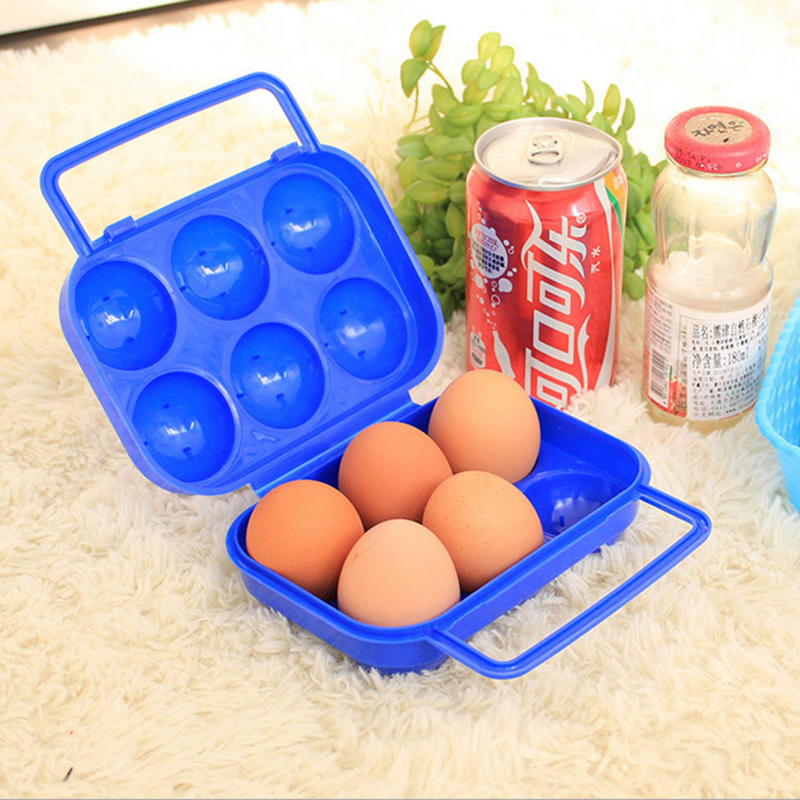 Plastic Portable Double Lock Folding Eggs Box 6 Eggs Container Holder Handle Case Storage Box 5.5 X 15 x 7cm(China (Mainland))