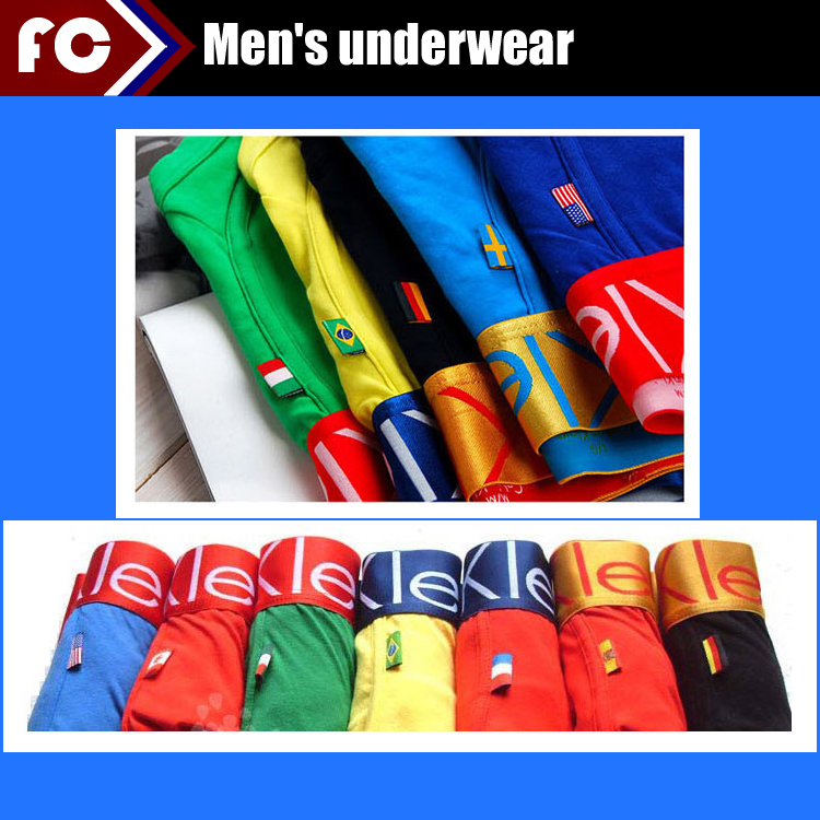 National Flag Style boxers Shorts! 10 pcs/lot Cotton and spandex Brand men underwear boxer underwear men boxer shorts Wholesale(China (Mainland))