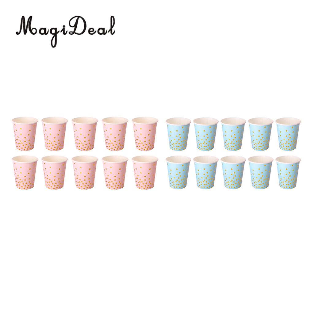 MagiDeal Lovely 10Pcs/Pack Glier Polka Dot Paper Cup Craft for Baby Shower Wedding Birthday Festival Party Tableware Pink/Blue