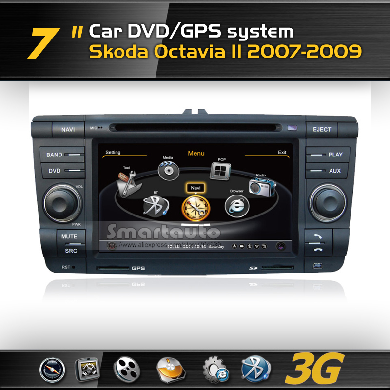 Free shipping 1GMHZ CPU,DDR2 512M,Virtual 20 CD,4G memory for Skoda Octavia II 3G A8 DVD GPS with iPod,Support Rearview Camera(China (Mainland))