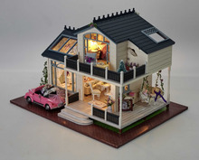 24th DIY Wooden Miniture Handcraft Dolls house Kit Alice large dollhouse Car Model Furnitures english instruction