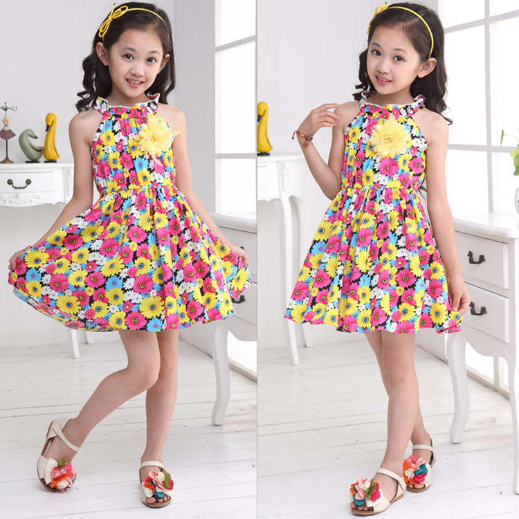 2016 New Arrival Summer Girls Halterneck Dress Female Child Cute Sunflower Vest Dress Kids Floral Printed Pattern Camisole Y20(China (Mainland))
