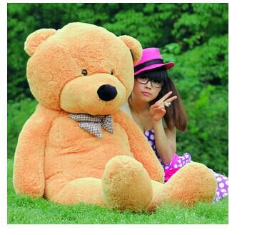 Stuffed animal largest 200cm light brown Teddy bear plush toy soft doll throw pillow gift w1676(China (Mainland))