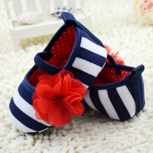 Baby first walker shoes Toddler Girls Flower Crib Shoes Soft Stripes Elastic Casual Party Baby Shoes Free Shipping<br><br>Aliexpress