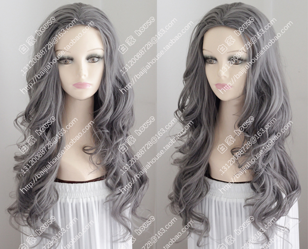 2015 new wig free shipping cosplay wig gray wavy curly hair center part bang big wave fashionable girl party wigs<br><br>Aliexpress