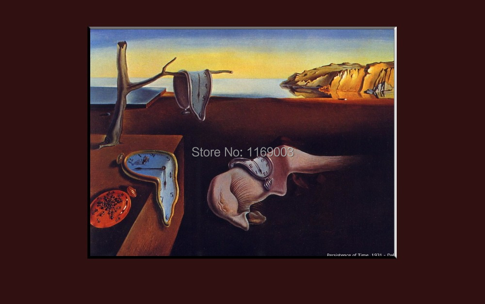 Famous Abstract canvas Salvador Dali hand modern clock handpainted oil painting reproduction on canvas living room decoration(China (Mainland))