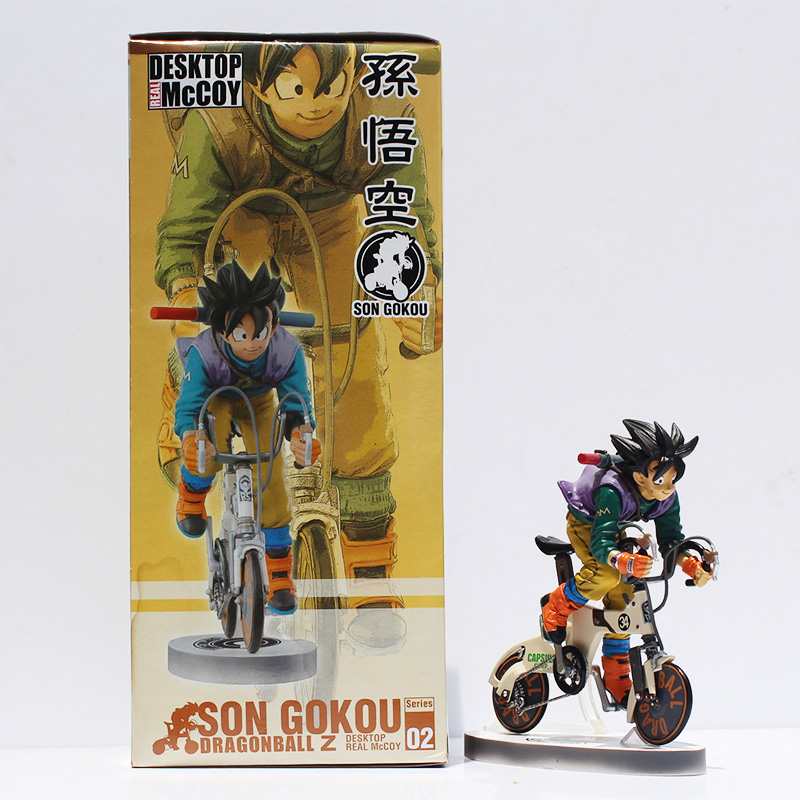 Free Shipping Anime Dragon Ball Z Goku Riding Bicycle Desktop Real McCOY Series 2 Action Figure PVC Model Toys 15cm Doll(China (Mainland))