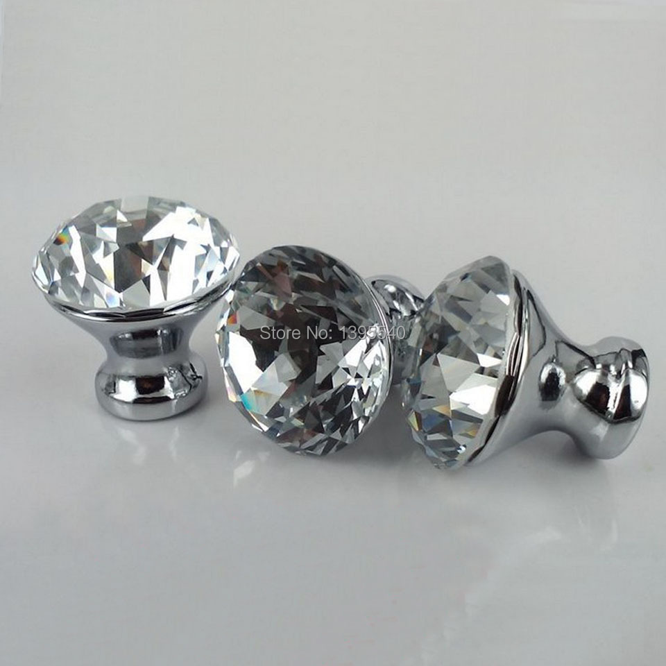 Гаджет  New 10pcs 25mm K9 Crystal Cabinet Knobs Furniture Hardware Drawer Handles Wardrobe Pulls Cupboard Shoes Box Knobs None Мебель