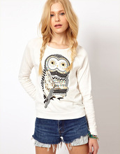 Hot 2015 New Autumn Casual Cute White Owl Animal Print Beading Hoodies Pullover for Women High Quality Plus size  Free Shipping
