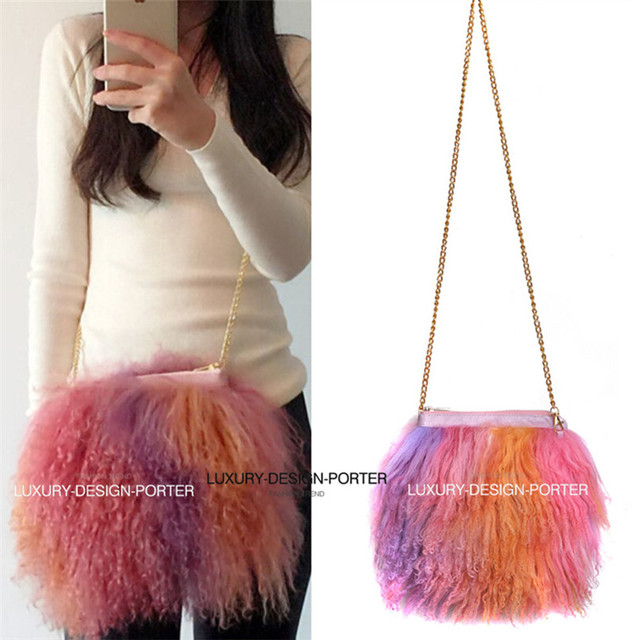 Горячая дизайнерский бренд из натурального меха мешок шерсти мех женщины дамы сумку цепи сумка
