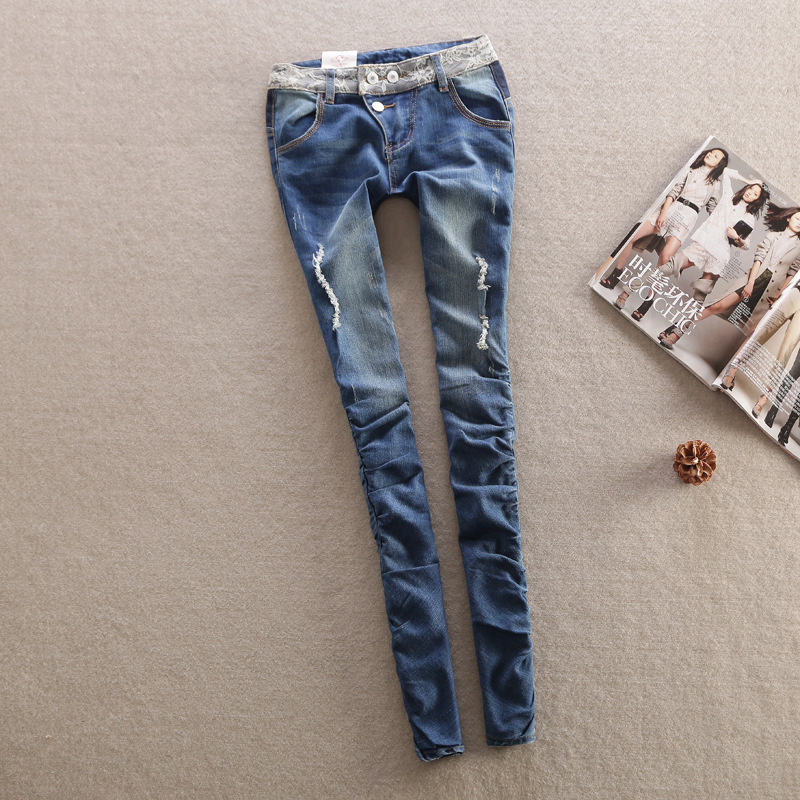 Autumn elasticity skinny Jeans woman Sexy hole denim trousers Slim Fashion woman casual pants lace waistband Cotton pencil pantsОдежда и ак�е��уары<br><br><br>Aliexpress