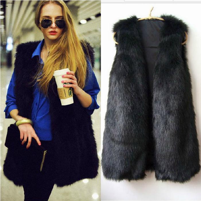 2013 vest V-neck sleeveless faux vest fox fur long waistcoat design vest(China (Mainland))
