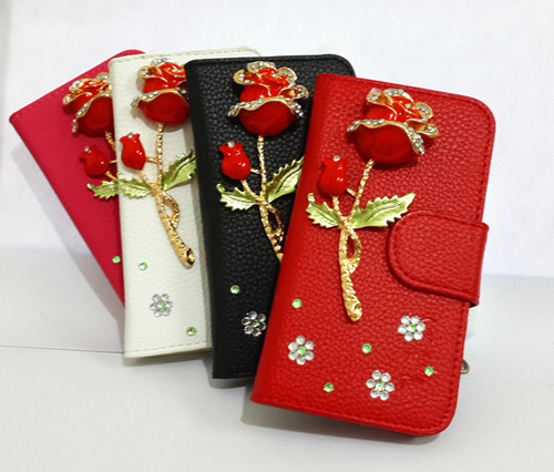 Bling Diamonds Rose Wallet Card Holder PU Leather Flip Case Cover For BlackBerry Z10(China (Mainland))
