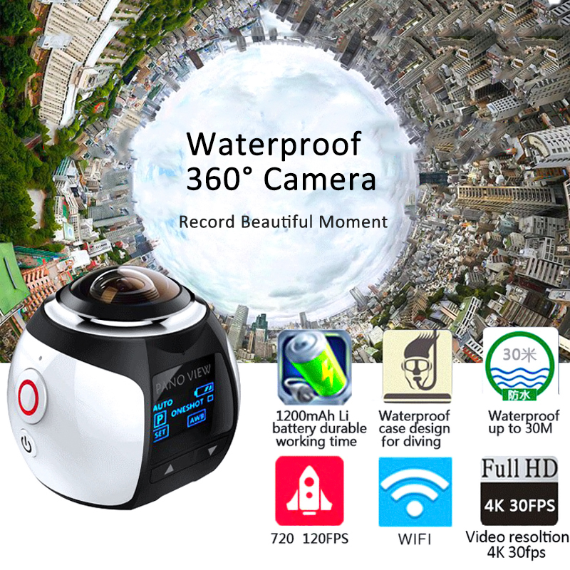 Hot Mini WiFi Panoramic Video Camera 4K 2448P 30fps 16MP Photo 3D Sports Camcorder Waterproof Cam DV VR Video Image ABS Recorder(China (Mainland))