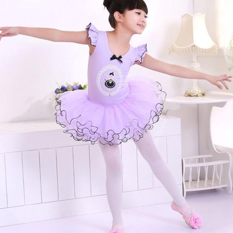 Pink Purple Child Girls Ballet Dancewear Dress Tranning Kids Dance Skirt Tutu Dress Leotard dress 4 Size