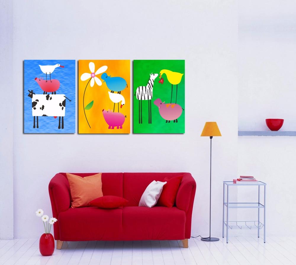 3 Piece Set Cute Cartoon Animal Painting Canvas Print Wall Art Picture Kids' Room Decor - AsenArt store