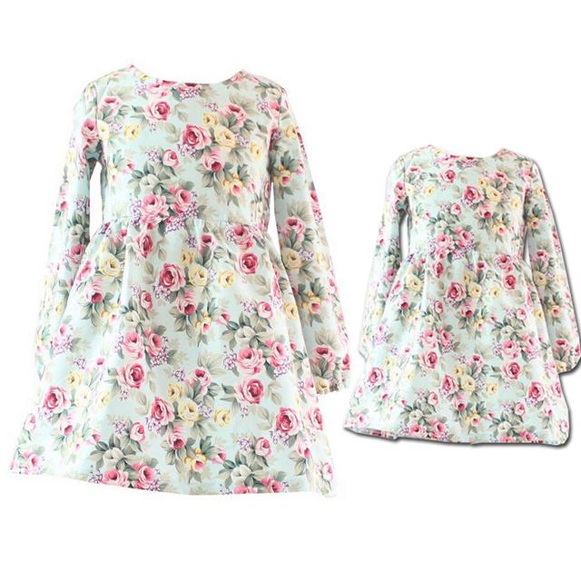 2016 мать дочь платья свободного покроя цветочные печатный мать дочь платья одежда ...