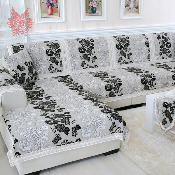 Buy red black floral sofa cover poly for Canape patchwork