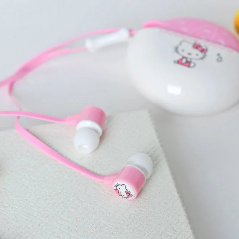 Hello kitty earphone with microphone bests headphones with storage box for iphone samsung htc xiaomi mp3 ear phones(China (Mainland))