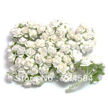 Free shipping 1440PCS/LOT white Mulberry Paper Flower Bouquet/wire stem/ Scrapbooking artificial rose flowers(China (Mainland))