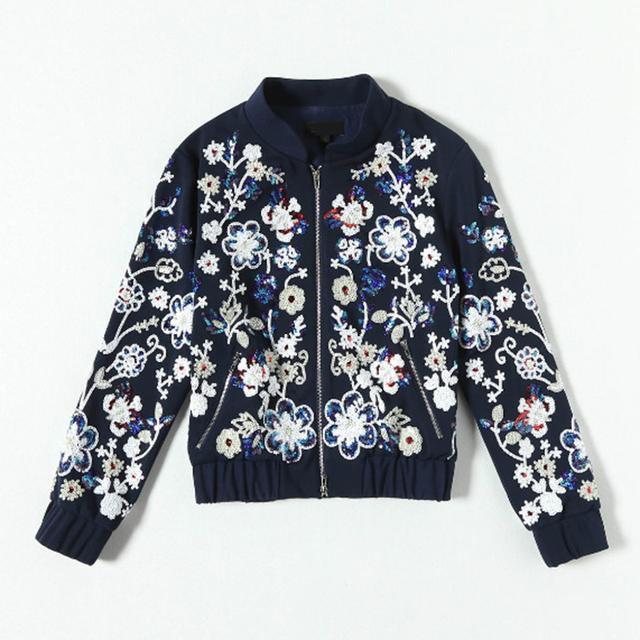 Роскошные 2016 Известный Бренд Осень Длинным Рукавом Женщины Элегантный Блестками Ретро Мода Высший Сорт Куртка