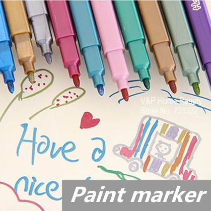 12 pcs/Lot Metallic color pen Paint marker Highlighter for art brush foto Kawaii Stationery novelty copic School supplies<br><br>Aliexpress