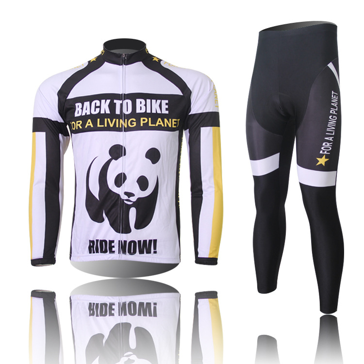 2015 Brand New Cute Panda Cycling Wear Long Sleeves Cycling Jewrsey + Pants Sets Qucik Dry And Breathable For Autumn Winter<br><br>Aliexpress