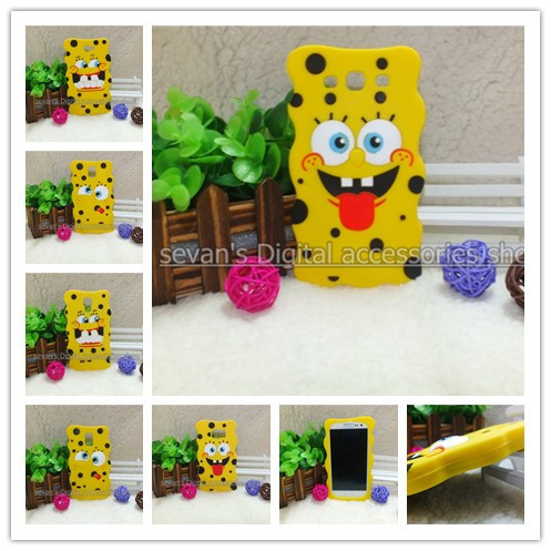 Fashion Cute Lovely Cartoon 3d Spongebob squarepants soft silicone Cases back cover For samsung galaxy s3 s4 s5 s6 note 2 3 4(China (Mainland))