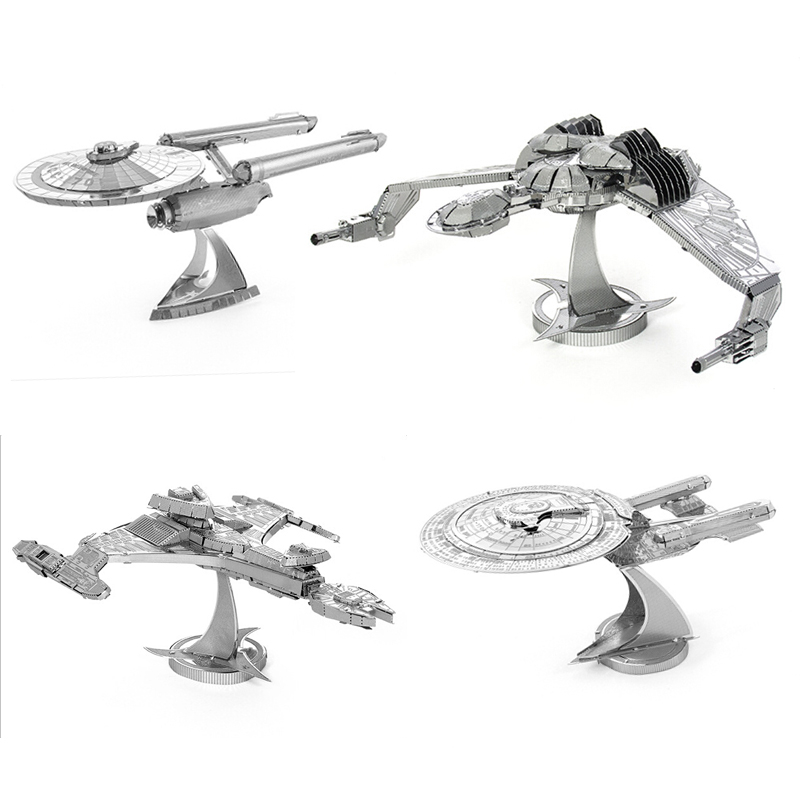 2016 New Star Trek 3D Metal Puzzles Assemble DIY Starship Enterprises 1701 /Bird Of Prey/ Kerrigan No. Model Toys Gift(China (Mainland))