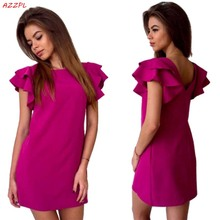 Buy Azzpl 2017 Womens Summer Style Sexy Backless Beach shirt dress Red Green O-neck short sleeve Mini Party Club Dresses Vestidos for $5.93 in AliExpress store