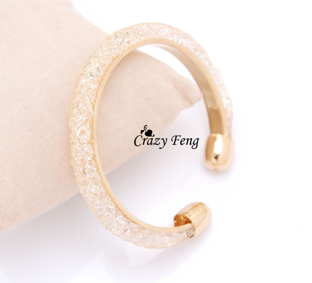 Crazy Feng Women's 18k Yellow Gold Plated Austrian Crystal Beads Adjustable Bracelets & Bangles Cuff Wrist Jewelry Free shipping(China (Mainland))