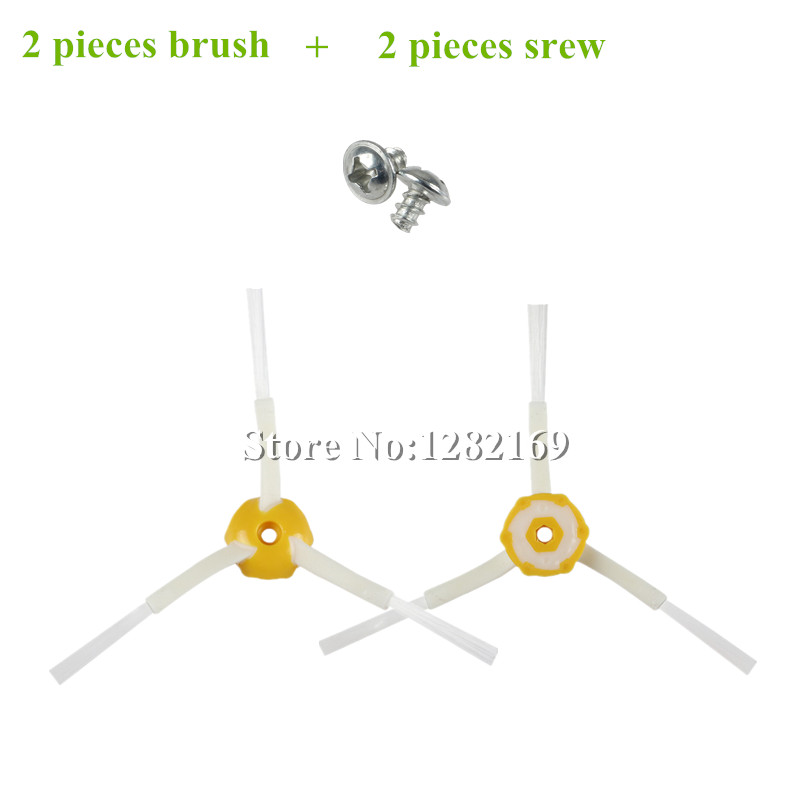 2x Side Brushes + 2x Screws Replacement for iRobot Roomba 500 600 700 Series 760 770 780 790 530 550 560 580 620 630 650 etc.(China (Mainland))