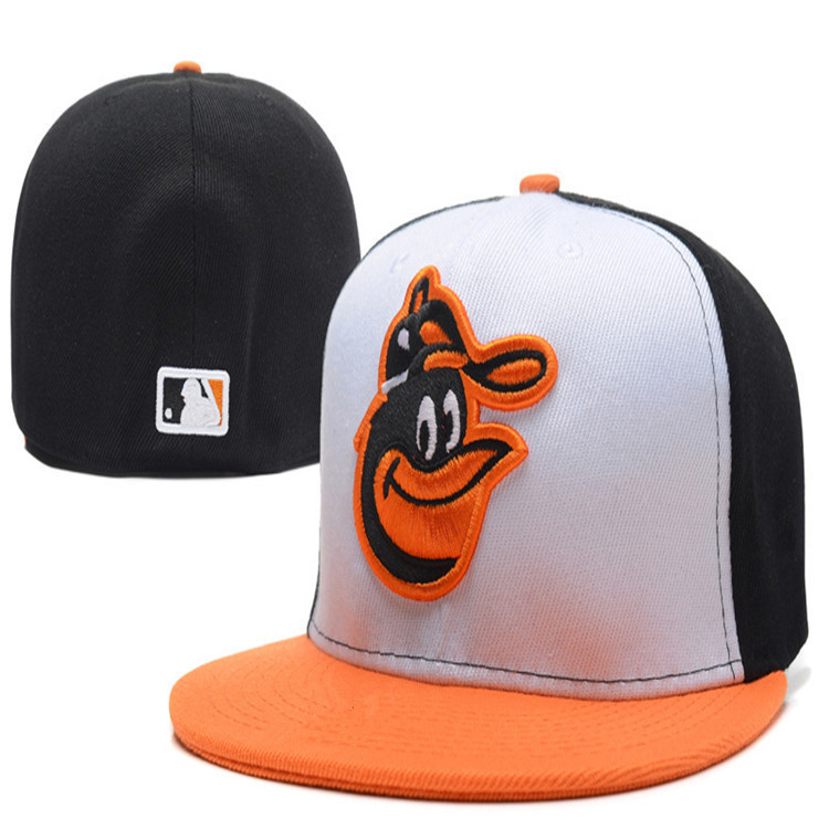 Free shipping Baltimore Orioles Fitted Hats In White Orange Black Color Embroidered Team Logo Sport Baseball Full Closed Caps(China (Mainland))