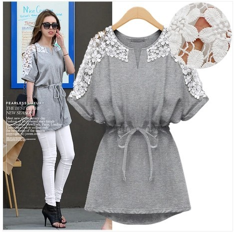 2014 New vintage embroidery blouse for women plus size loose summer batwing shortsleeve chiffon woman shirt top tunic grey,white(China (Mainland))