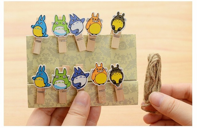 Totoro Cartoon Wooden Paper Clips (10Pcs/Lot)