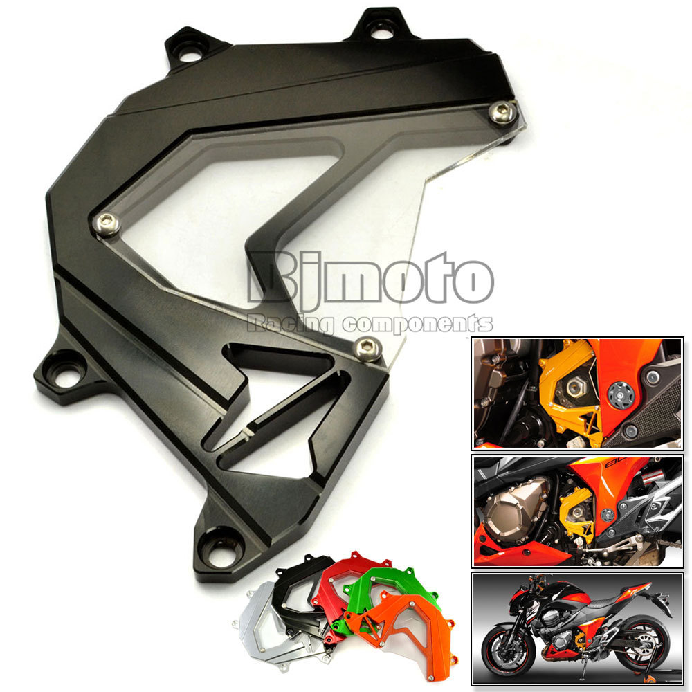 Motorcycle Scooter Front Sprocket Cover Panel Left Engine Guard Chain Cover Protection Black For Kawasaki Z800 2013-2015(China (Mainland))