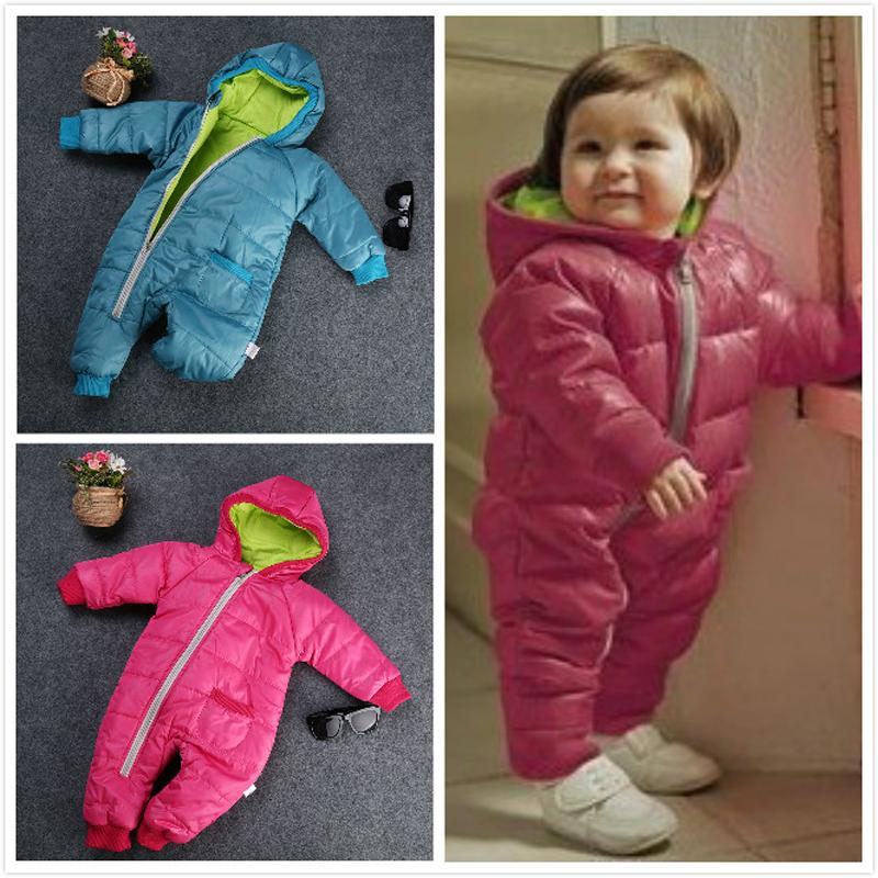 2016 Sıcak Sıcak Kış Kız Bebek Erkek Çocuk Toddler Kapüşonlu Fermuar Snowsuit Coat Dış Giyim Kar Giyim Giyim Üst