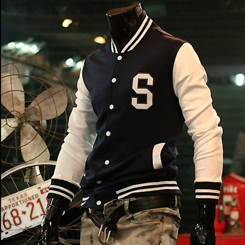S Letter Baseball Jacket For Men,New 2015 Hot Casual Sports Jerseys Coat Cotton Decration Sweatshirts 3 Colors Free Shippping(China (Mainland))