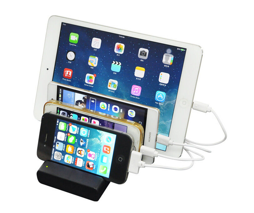Multifunctional 4 Port USB Charge Dock 5V 1A-2.1A Desktop Charger Docking Station For iPhone 5 5s 6 6s 7 Plus iPad # F1612(China (Mainland))