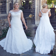 New White Plus Size Wedding Dress 2017 Scoop Neck Cap Sleeve A-Line Lace Up Back Lace Long Bridal Gowns Robe de mariee(China (Mainland))