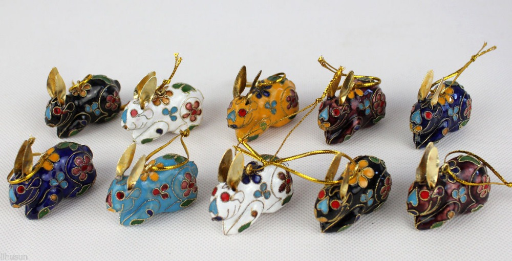 Wholesale 10pcs Cute Chinese Handmade Cloisonne Enamel/ rabbit Ornaments charm for christmas(China (Mainland))