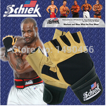 Brand Schiek Sports Gloves Fitness Weight Lifting Gloves Exercise Training Guantes Gym Gloves Half Finger High
