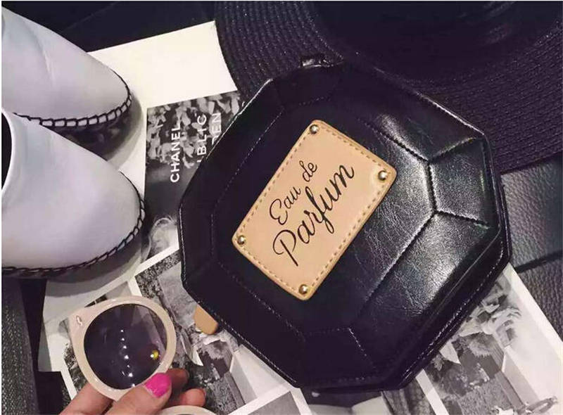 New 2015 Popular Perfume Bottles PU Leather Women Day Clutch Vintage Mini Tote Bag Fashion Chains Shoulder Cross-Body Bag Wallet(China (Mainland))