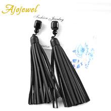 Ajojewel Trendy Vintage Black Glass Crystal Long Tassel Designer Handmade Red / Black Leather Earrings For Women(China (Mainland))