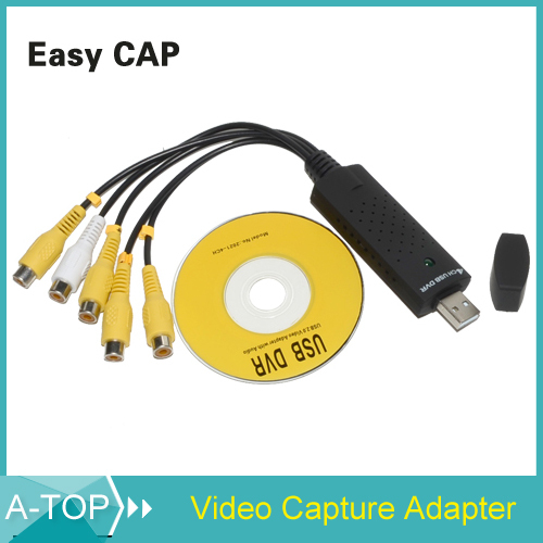 Easy cap 4 channels DVR CCTV Digital Security Camera usb video capture card grabber adapter free shipping(China (Mainland))