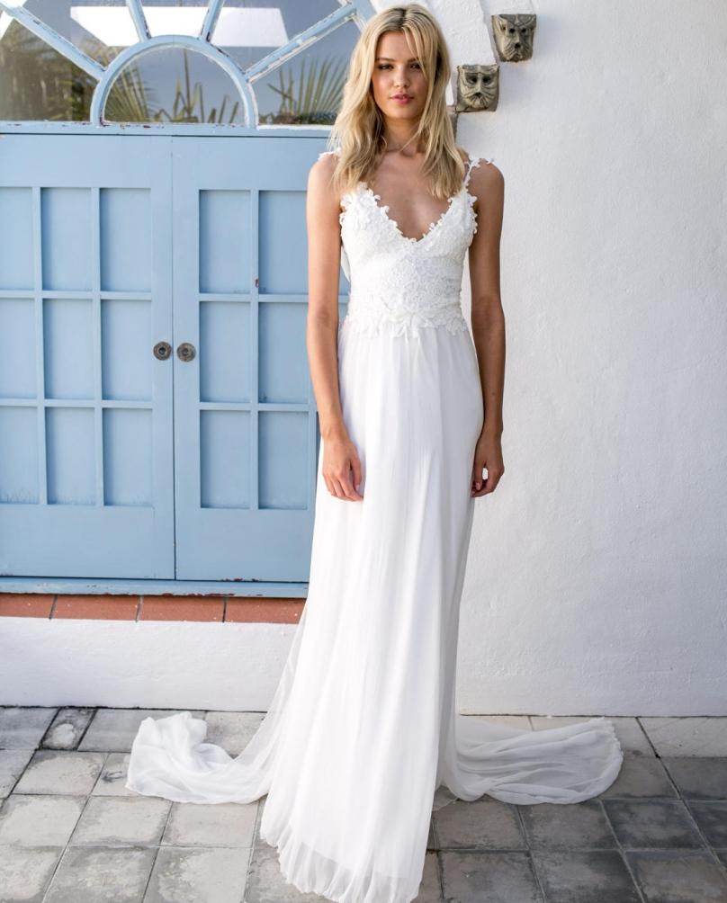 2017 Summer Sexy Casual Beach Wedding Dresses Backless ...