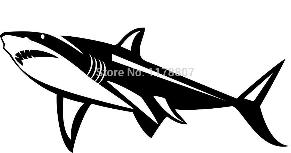 White Shark Sticker For Car Rear Windshield Truck SUV Bumper Auto Door Laptop Art Wall Die Cut Vinyl Decal 8 Colors(China (Mainland))
