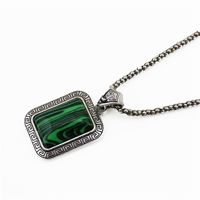 5pcs Vintage Look Antique Silver Plated Square Longevity Malachite Necklace Bracelet Clip On Earrings Ring Jewelry Sets TS53