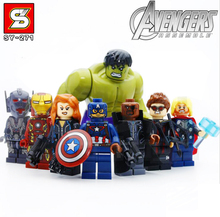 8pcs Marvel Avengers SuperHero Minifigures Building Blocks action figure Bricks Toy Superman Iron Man Hulk Compatible